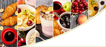 Collage of breakfast photo with white space for text.