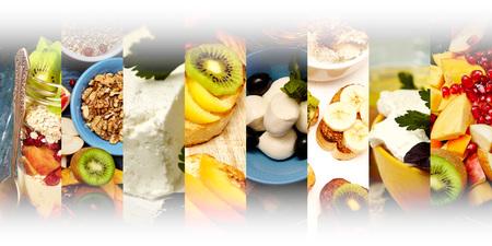 フルーツ、チーズ、ヨーグルト、ナッツ抽象的なミックスストライプの写真。健康的な朝食のコラージュ、コンセプト。テキストの空白