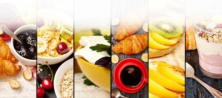 フルーツ、チーズ、ヨーグルト、ジャム、ミューズリー抽象ミックスストライプの写真。健康的な朝食のコラージュ、コンセプト。テキストの空白