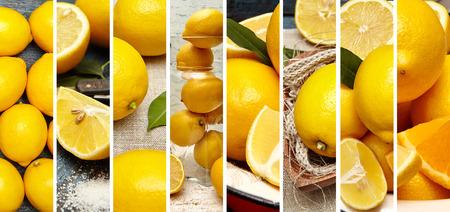 新鮮なレモンの写真の食品コラージュ。