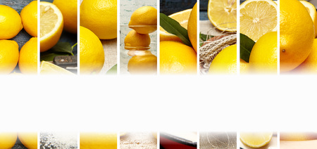 新鮮なレモンの写真の食品コラージュ。テキストの空白。