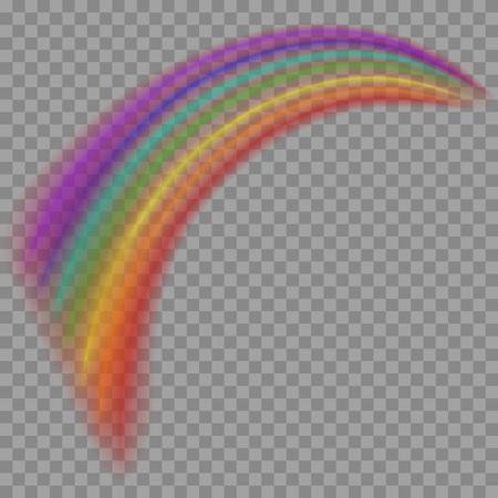 透明な背景に隔離された虹。半透明の虹のテンプレート。