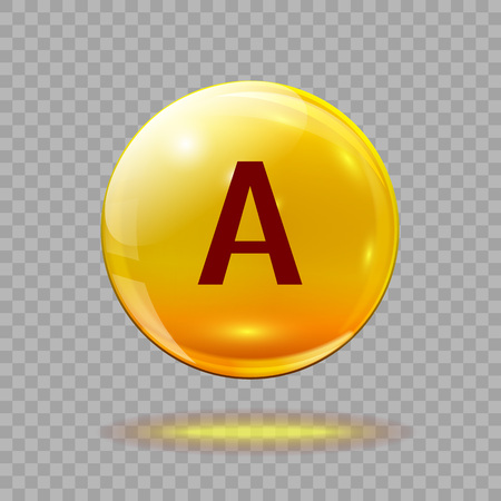 Gold pill capsule or gold drop with vitamin A on a transparent background. Medical  template.