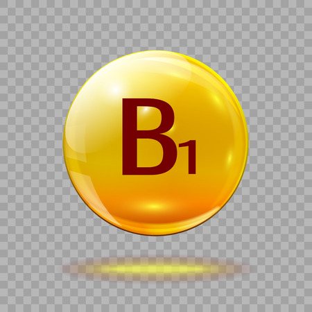 Gold pill capsule or gold drop with vitamin B1 on a transparent background. Medical template.
