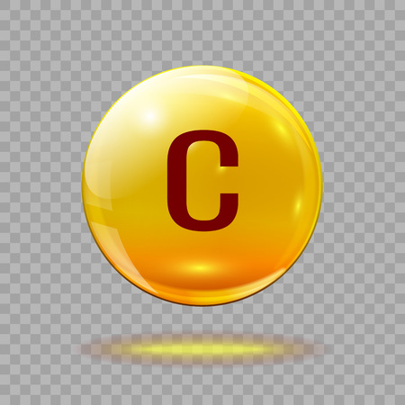 Gold pill capsule or gold drop with vitamin C on a transparent background. Medical  template.