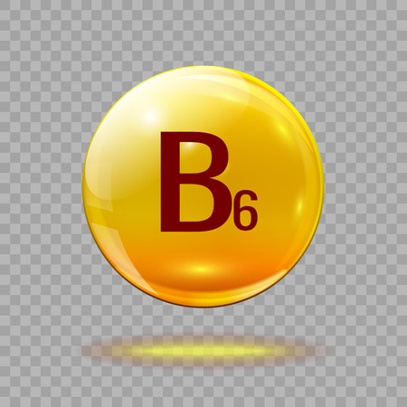 Gold pill capsule or gold drop with vitamin B6 on a transparent background. Medical template.