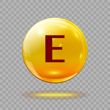 Gold pill capsule or gold drop with vitamin E on a transparent background. Medical  template. Иллюстрация