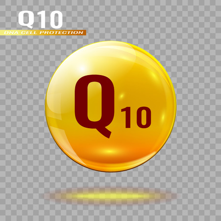 Gold pill capsule or gold drop with coenzyme Q10 on a transparent background.