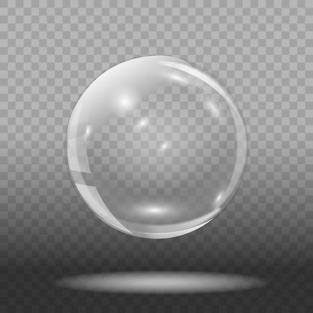 透明な背景に空のガラスボール。透明なガラス球。ベクターの図。
