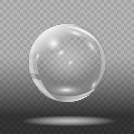 Empty glass ball on transparent background. Transparent glass sphere. Vector illustration.