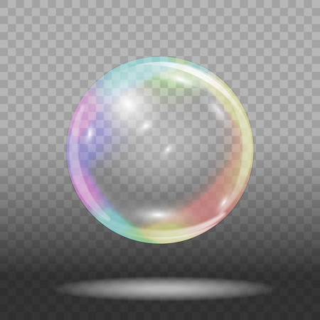 Soap bubble on transparent background Vector illustration