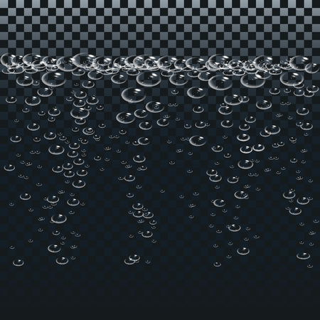 Air or oxygen gas bubbles under water. Boiling water.White bubbles set on transparent background. Realistic fizzy air.