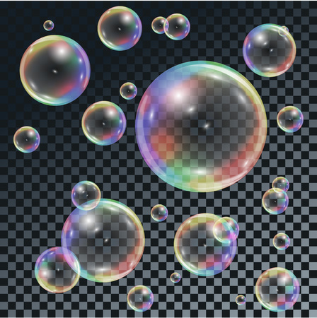 Soap transparent bubbles with rainbow reflection on dark checkered background. Иллюстрация