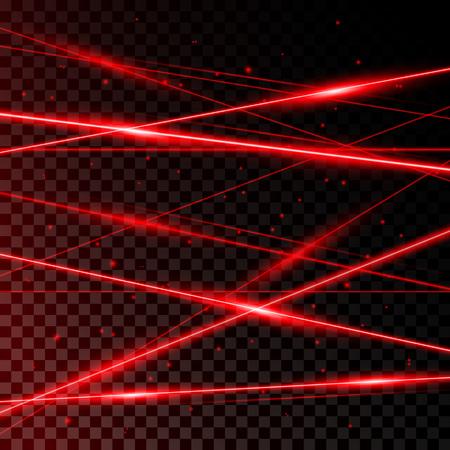 透明な黒の背景に赤いレーザービームからの背景。