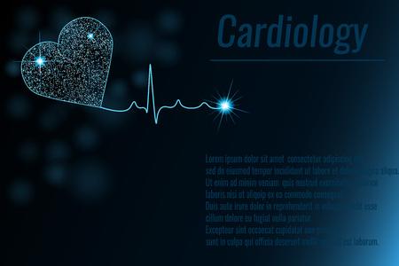 心臓心電図のイラストと医学の背景。心臓病学の背景。グロー効果。テキスト用のスペース。