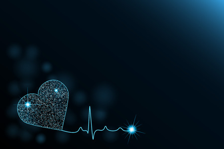 Medical Background with heart cardiogram illustration. Cardiology background. Glow effect. Space for Text.