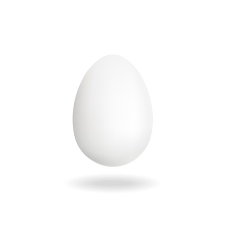 Isolated Chicken white single egg. 3D illustration.