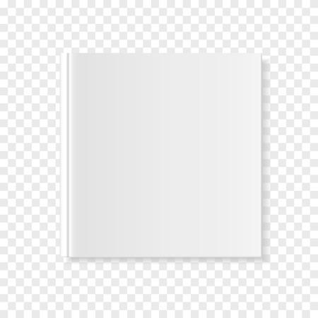 正方形のカバーブックや雑誌のモックアップ3Dイラスト。