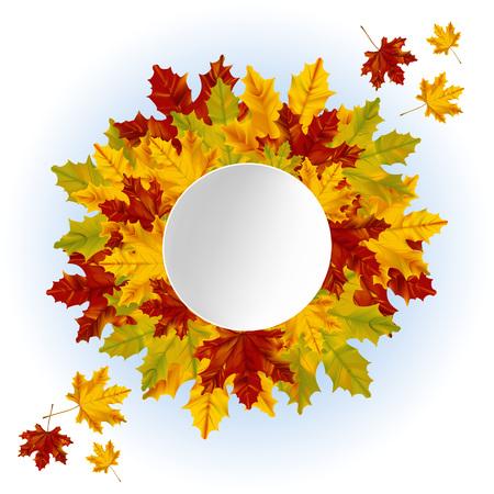 秋の背景。リアルなカエデの葉のリース。丸い紙のラベルを持つ販売やその他のイベント。