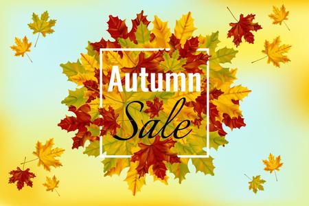 カラフルなカエデの葉と秋の販売バナーテンプレート。ショッピング割引プロモーション。