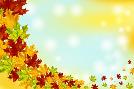 カラフルなカエデの葉と秋の背景。スペースフォットテキストを含む自然のバナー。  イラスト・ベクター素材