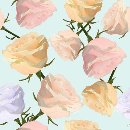 水彩バラの花とパターン