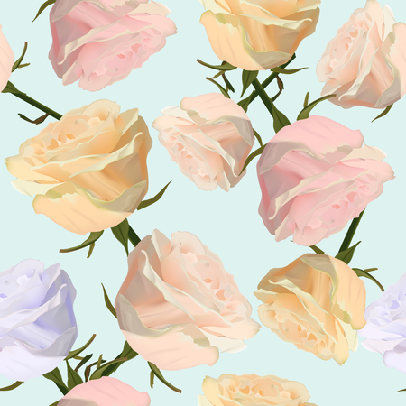 Pattern with watercolor rose flowers