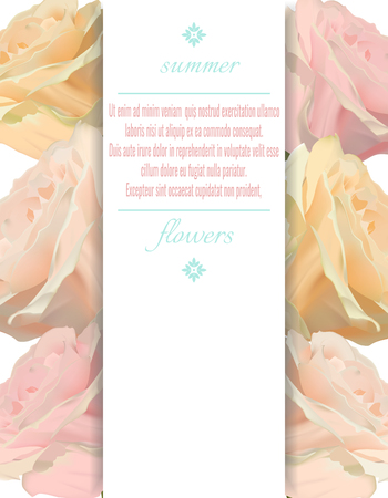 Vector vertical banner with pink rose flowers on white background.Design for greeting card or wedding invitation
