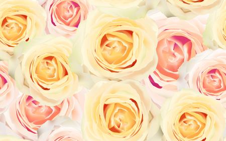 バラとシームレスな花のパターン。水彩ベクトルのイラスト。