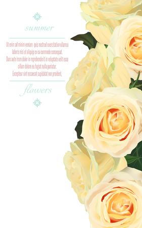 白い背景に黄色のバラを持つベクター垂直バナー。グリーティングカードのウェディングイラストのための花のデザイン  イラスト・ベクター素材