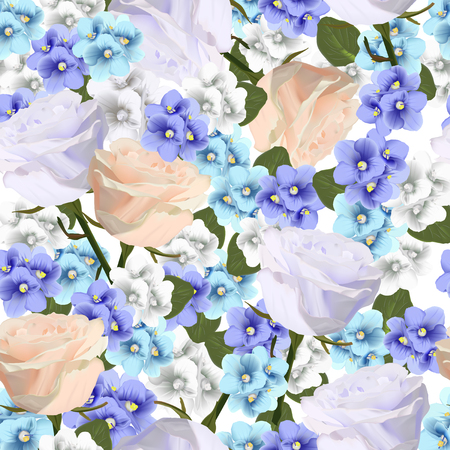 Vector seamless pattern with violets and roses flowers Modern floral vector art in watercolor style for sales, 8 March, wedding, Valentines Day, Mothers Day.