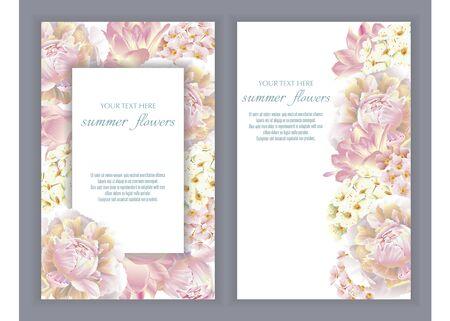 Bannières vectorielles serties de fleurs d'été. Modèle pour cartes de voeux, décorations de mariage, ventes. Conception de printemps ou d'été.
