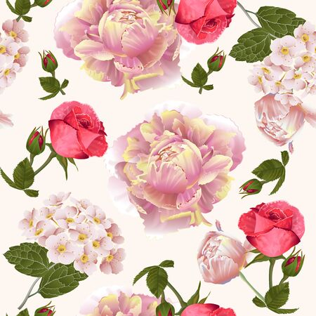 Vector botanical seamless pattern with roses and peonies flowers.Modern floral pattern for textile, wallpaper, print, gift wrap, greeting or wedding background. Spring or summer design. Vetores