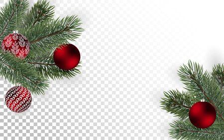 Ausführliche Weihnachtsbaumaste und rote Kugeln auf transparentem Hintergrund. Weihnachtsdekoration. Vektor-Neujahrsdesign für Karten, Banner, Flyer, Partyplakate, Header, Einladung.