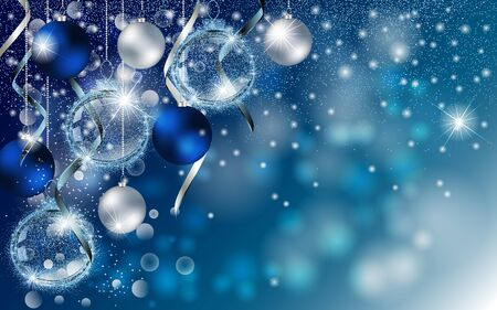 Christmas blue banner with Stardust sparks and Christmas balls. Vector New Year design for greeting card, party invitation, holiday sales.