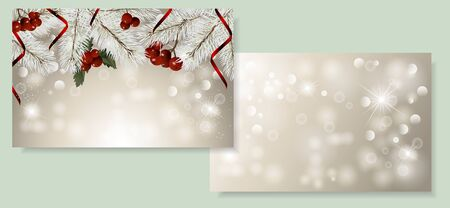 Set of Christmas card with fir branches, christmas berry and red ribbon. Space for text. Vector Christmas design for greeting card, party invitation, holiday sales.