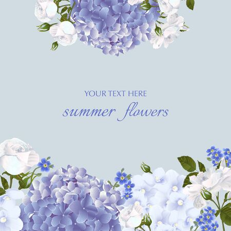 Template for greeting cards, wedding decorations, invitation,sales. Vector banner with Luxurious white roses,violets, forget-me-nots, hydrangea flowers. Spring or summer design.