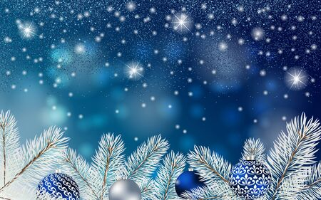 Christmas blue banner with Stardust sparks, fir branches and balls. Vector Christmas design for greeting card, party invitation, holiday sales.