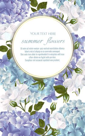 Template for greeting cards, wedding decorations, invitation,sales. Vector banner with Luxurious white roses and hydrangea flowers. Spring or summer design.