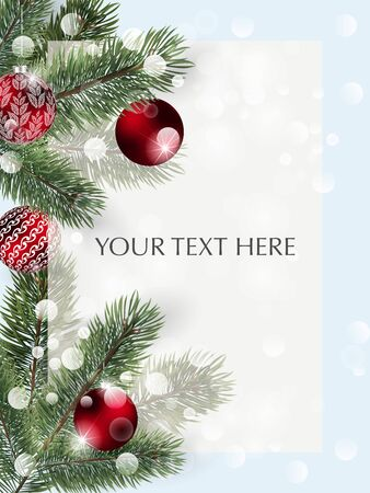 Background with vector Detailed christmas tree branches and red Christmas balls. Vector New Year design for cards, banners, flyers, party posters, headers, invitation. Illustration