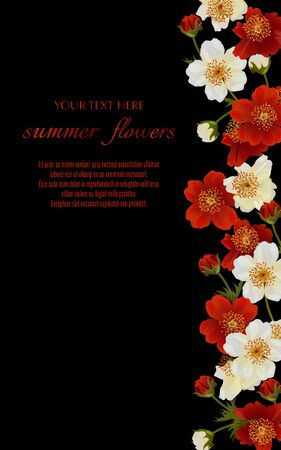Template for greeting cards, wedding decorations, invitation,sales. Vector banner with Luxurious summer flowers. Spring or summer design. Illustration