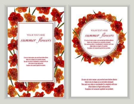 Vector banners set with Luxurious bright red Hippeastrum flowers.Template for greeting cards, wedding decorations, invitation ,sales. Spring or summer design. Place for text.