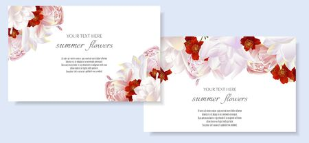 Vector banners set with peony and tulips flowers.Template for greeting cards, wedding decorations, invitation ,sales. Spring or summer design. Place for text. Illustration