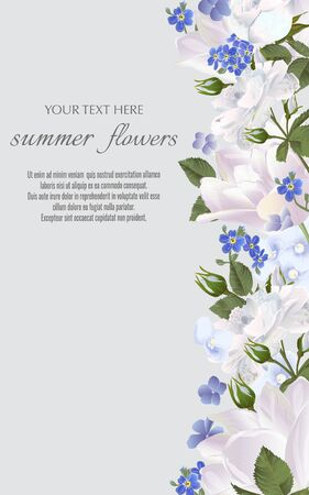 Template for greeting cards, wedding decorations, invitation, sales. Vector banner with Luxurious summer flowers. Spring or summer design. Space for text. Illustration