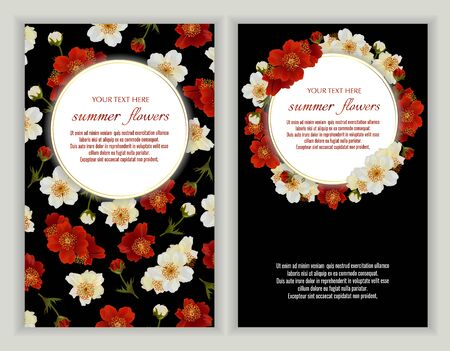 Vector banners set with summer flowers on black.Template for greeting cards, wedding decorations, invitation ,sales. Spring or summer design. Place for text.