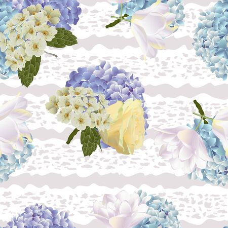 Vector botanical seamless pattern with roses, tulips and hydrangea flowers. Modern floral pattern for textile, wallpaper, print, gift wrap, greeting or wedding background. Spring or summer design.