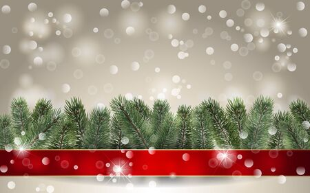Christmas background. Banner with detailed christmas tree and red rinnon. Realistic fir tree border. Vector New Year design for christmas cards, banners, flyers, party posters, headers. Illustration