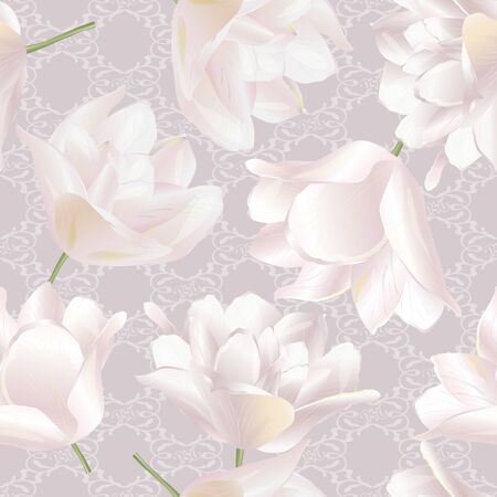 Vector botanical seamless pattern with tulips flowers. Modern floral pattern for textile, wallpaper, print, gift wrap, greeting or wedding background. Spring or summer design. Illustration