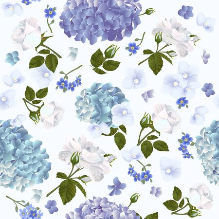 Vector botanical seamless pattern with roses and hydrangea flowers. Modern floral pattern for textile, wallpaper, print, gift wrap, greeting or wedding background. Spring or summer design. Illustration