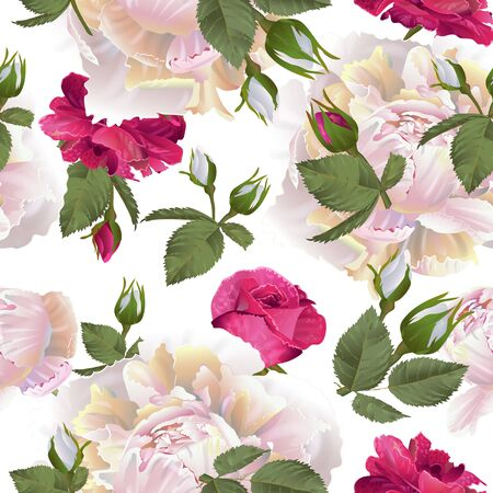 Vector botanical seamless pattern with roses and peonies flowers. Modern floral pattern for textile, wallpaper, print, gift wrap, greeting or wedding background. Spring or summer design.